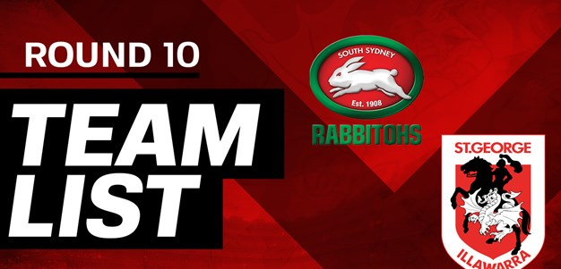 NRL team: Round 10 v Rabbitohs