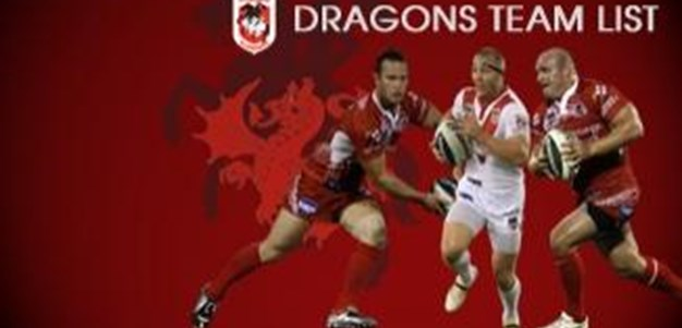 Dragons Team List to play the Sharks