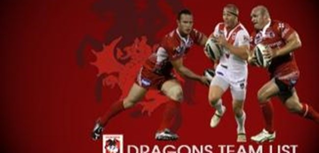 Dragons Team List to Play the Rabbitohs