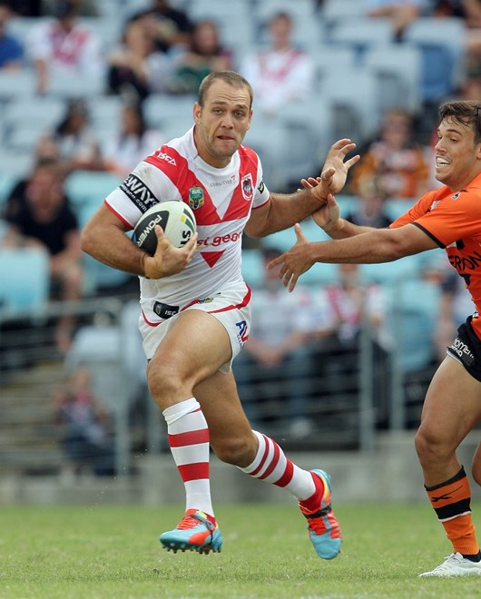 Jason Nightingale: NRL Rugby League - Round 1 - St.George-Illawarra Dragons V Wests Tigers at ANZ Stadium, Sunday the 9th of March 2014. Digital Image by Robb Cox nrlphotos.com