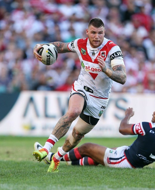 Digital Image by Robb Cox ©nrlphotos.com: Josh Dugan :NRL Rugby League - Round 8; St George Illawarra Dragons V Sydney Roosters, Allianz Stadium, Sydney. Friday the 25th of April 2014.