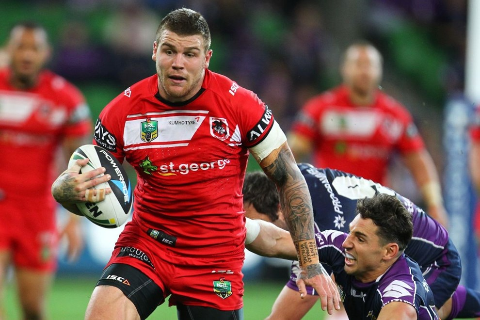 Digital Image by Ian Knight © nrlphotos.com: Josh Dugan (St George Illawarra Dragons) NRL, Rugby League, Round 6, Melbourne Storm v St George-Illawarra @ AAMI Park, Melbourne, VIC, Monday April 14th, 2014.