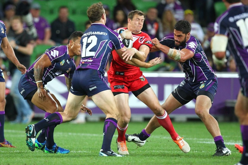 Digital Image by Ian Knight © nrlphotos.com: Ben Creagh (St George Illawarra Dragons) NRL, Rugby League, Round 6, Melbourne Storm v St George-Illawarra @ AAMI Park, Melbourne, VIC, Monday April 14th, 2014.