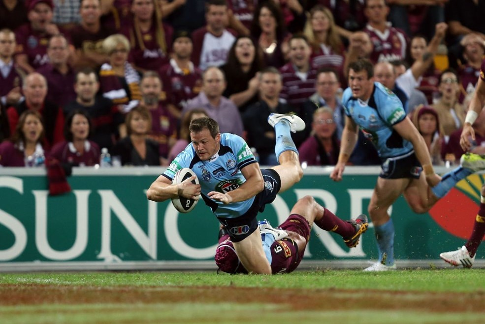 Digital Image by Robb Cox ©nrlphotos.com: Brett Morris scores a try :Representative Rugby League;  QLD V NSW State of Origin at Suncorp Stadium, Brisbane. Wednesday the 28th of May 2014.