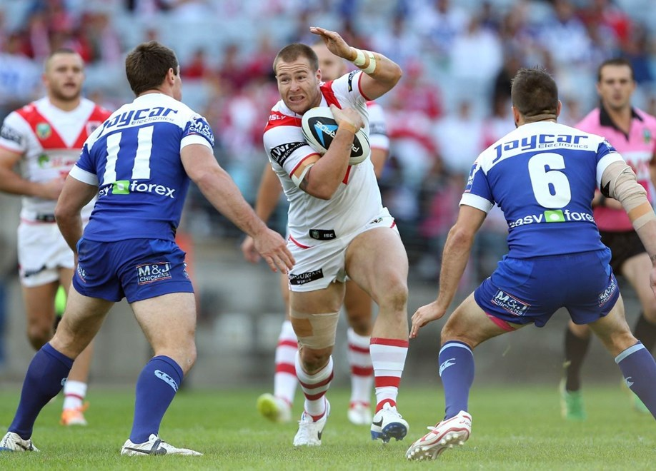Digital Image by Robb Cox ©nrlphotos.com: Trent Merrin :NRL Rugby League; St George Illawarra Dragons V Canterbury Bankstown Bulldogs at ANZ Stadium, Sunday the 11th of May 2014.