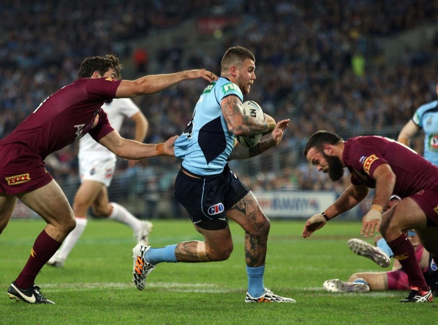 Digital Pic by Robb Cox © Action Photographics: Josh Dugan : State of Origin Rugby League -  2014 - NSW Vs QLD at ANZ Stadium Wednesday the 18th of June 2014.