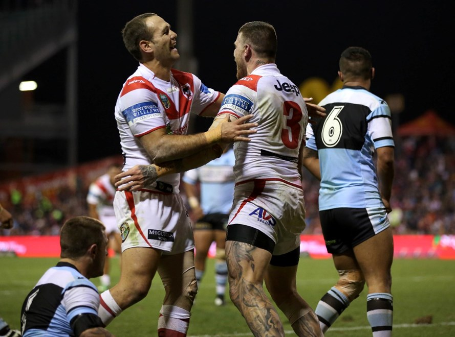 Digital Image by Robb Cox ©nrlphotos.com: Jason Nightingale and Josh Dugan celebrate a Dugan truy :NRL Rugby League - Round 13; St George Illawarra Dragons V Cronulla Sutherland Sharks at WIN Stadium, Wollongong, Saturday the 7th of June 2014.