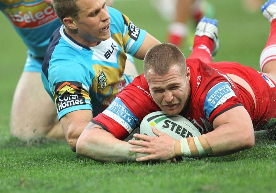 Photo by Colin Whelan copyright © nrlphotos.com :    Trent Merrin scores with William Zillman at left                           NRL Rugby League, Round 15 Gold Coast Titans v St George Illawarra Dragons at Robina, Sunday June 22nd 2014.