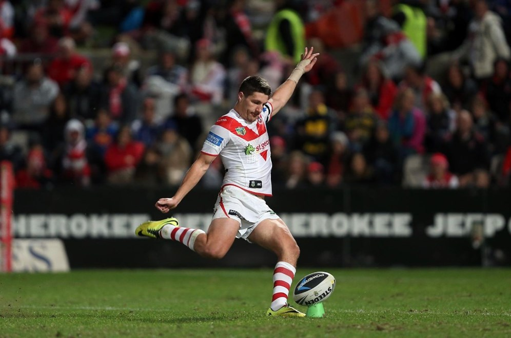 Digital Image by Robb Cox ©nrlphotos.com: Gareth Widdop kicks :NRL Rugby League - Round 17; St George Illawarra Dragons V North Queensland Cowboys at WIN Jubilee Stadium, Saturday the 5th of July 2014.