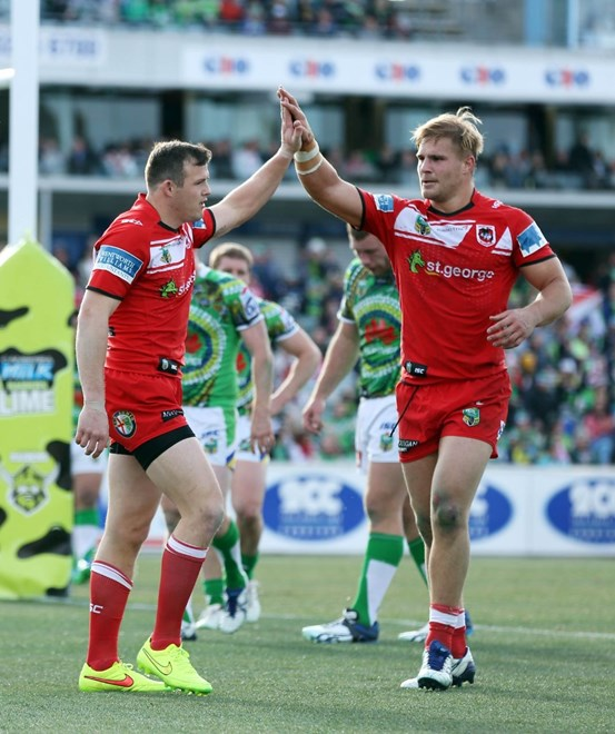 Digital Image by Robb Cox ©nrlphotos.com: Brett Morris celebrates his try with Jack De Belin :NRL Rugby League - Round 23, Canberra Raiders V St George Illawarra Dragons at GIO Stadium Canberra, Saturday August 16th 2014.