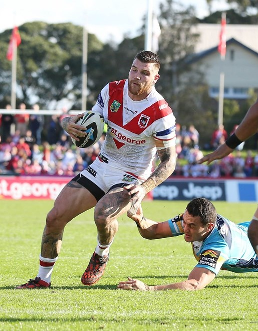 Digital Image by Robb Cox ©nrlphotos.com: josh Dugan :NRL Rugby League - Round 24, St George Illawarra Dragons V Gold Coast Titans at WIN Jubilee Stadium, Sunday August 24th 2014.