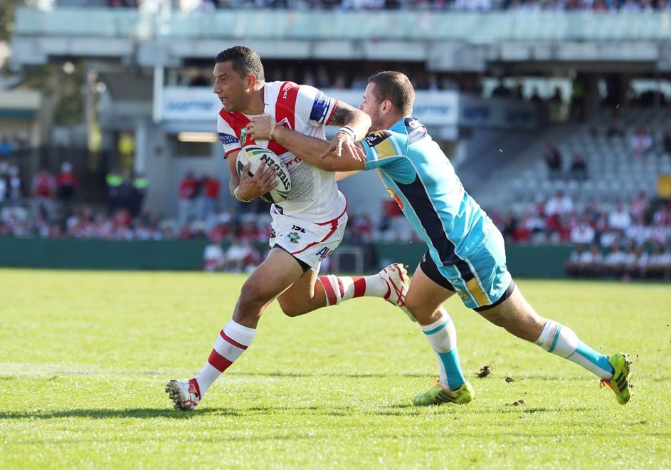 Digital Image by Robb Cox ©nrlphotos.com: Benji Marshall :NRL Rugby League - Round 24, St George Illawarra Dragons V Gold Coast Titans at WIN Jubilee Stadium, Sunday August 24th 2014.