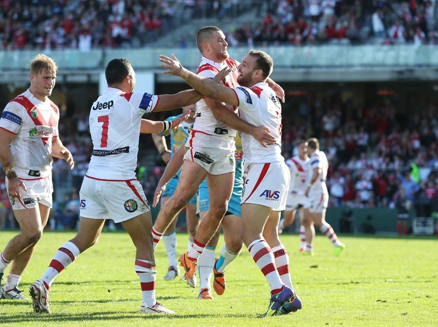 Digital Image by Robb Cox ©nrlphotos.com: Jason Nightingale celebrates his try :NRL Rugby League - Round 24, St George Illawarra Dragons V Gold Coast Titans at WIN Jubilee Stadium, Sunday August 24th 2014.