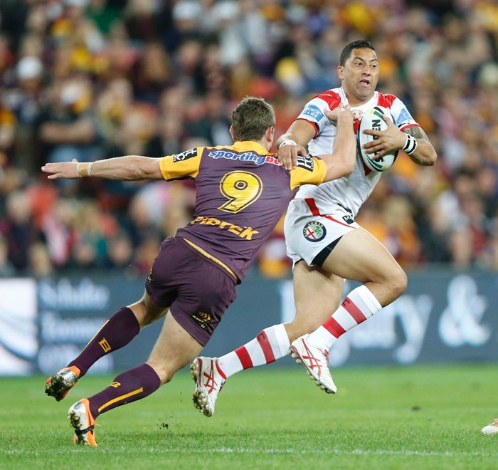 Photo by Charles Knight copyright © nrlphotos.com : Benji Marshall - NRL Rugby League, Round 25 Brisbane Broncos v St.George Dragons at Suncorp Stadium, Friday August 29th 2014.