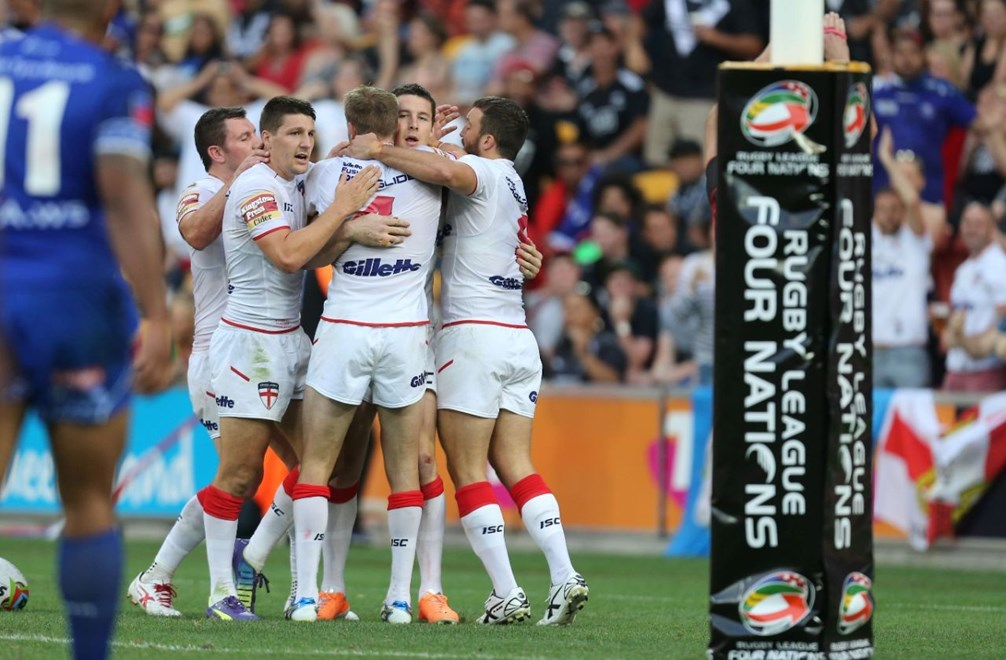Digital Image Grant Trouville  © nrlphotos.com :  England Celebrate  : NRL Rugby League - England v Samoa, FOUR NATIONS 2014 Double Header Brisbane, Saturday 25th of Octber 2014.