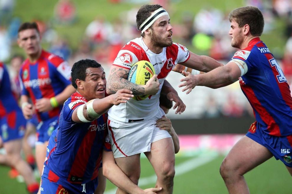 Dragons v Knights. Sport NRL Rugby League. Kogarah Oval. 26 July 2015. Photo by Paul Seiser/Melba Studios