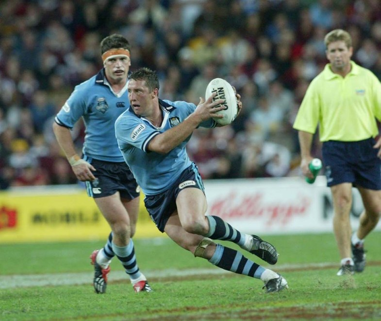 Shaun Timmins  - RUGBY LEAGUE STATE OF ORIGIN: GAME 1, NSW v QLD at Lang Park, Wednesday June 11th 2003 . Digital image by Charles Knight, © Action Photographics
