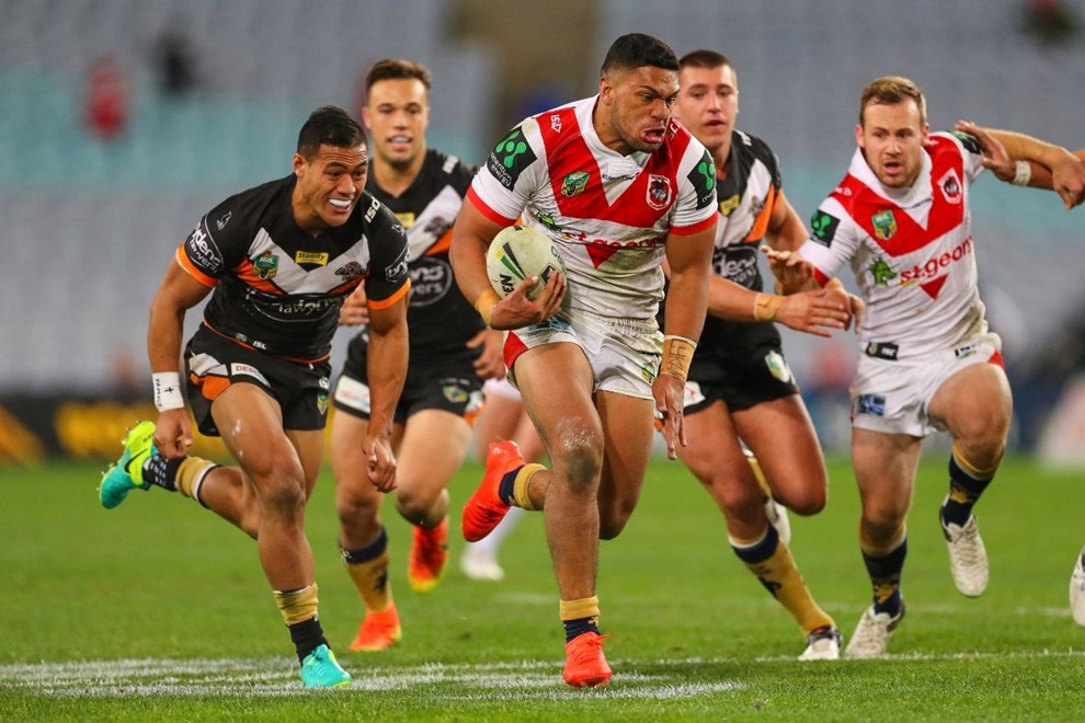 Competition - NRL Premiership Round. Round - Round 20. Teams - St George Dragons v Wests Tigers. Date - 24th of July 2016. Venue - ANZ Stadium, Olympic Park, NSW. Photographer - Paul Barkley.