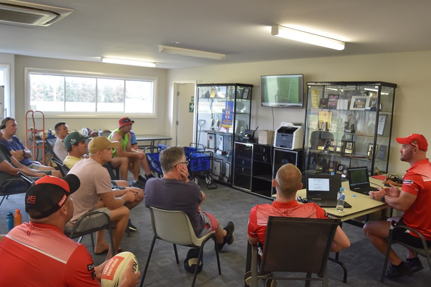 Ben Hornby and Dean Young speaking to local Rugby League coaches